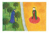 Моника Бейснер.  Чистилище, песнь XXX, Данте и Беатриче. Яичная темпера, бумага, 11x16,5 см