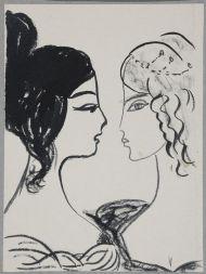 Две женские головки в профиль с прическами пушкинского времени a la Natalie