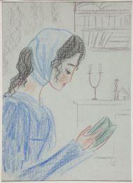 Иллюстрация к роману Евгений Онегин. Татьяна в кабинете Онегина.1966