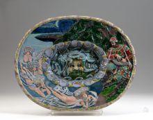 """Блюдо """"Садко"""". 1900-е(?). По рисунку М.А. Врубеля. Майолика, глазурь"""