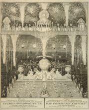 Эллингер /Ellinger/ Оттомар III. Иллюминация и фейерверк 28 января 1735 года в день рождения императрицы Анны Иоанновны. 1735. Оффорт, резец.