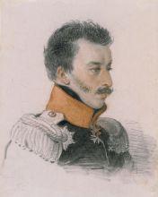 П.Ф. Соколов. Портрет князя С.Г. Волконского. Конец 1816 – начало 1817. Бумага, итальянский карандаш, сангина.