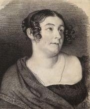 О.А. Кипренский. Портрет Е.М. Хитрово. Конец 1816 – начало 1817. Бумага, итальянский карандаш.