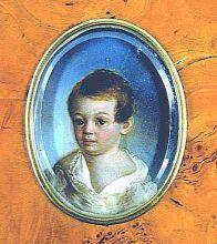 К. де Местр. Портрет А.С. Пушкина. 1800-1802. Металлическая пластина, масло.