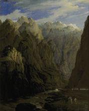 Н. Г. Чернецов. Кавказ. Дарьяльское ущелье. 1832. Холст, масло.