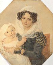 П.Ф. Соколов. Портрет княгини М. Н. Волконской с сыном Николаем. 1826. Бумага, акварель, карандаш, лак.
