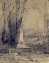 А.К. Саврасов. Могила Пушкина в Святогорском монастыре. 1873. Бумага, карандаш.