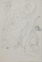 Н.Н. Рушева  «Аполлон, Дафна и ее мать». 1969. Бумага, перо, тушь.