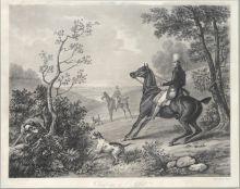 Ж. Жазе с оригинала К. Верне. Охотничья травля. 1827. Акватинта.