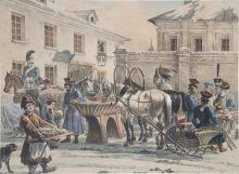 А.О. Орловский. Извозчичья биржа в С. Петербурге. 1820. Литография, акварель.