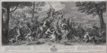 Ж. Одран c оригинала Ш. Лебрена. Битва при реке Гидасп в 326 году до н. э. Лист из серии «Триумфы Александра [Македонского]» . 1699-1708. Офорт, резец.