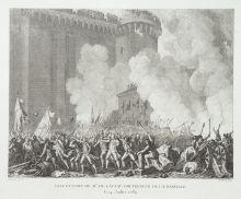 П.-Г. Берто с оригинала Ж.-Л. Приера. Взятие Бастилии 14 июля 1789 года. 1802. Офорт, резец.