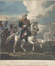 С. Карделли с оригинала А.О. Орловского. Конный портрет М.И. Голенищева-Кутузова. 1813 . Офорт, резец, акварель.