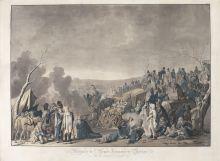 И.Л. Ругендас. Отступление французской армии из Москвы  в ноябре-декабре 1812 года. 1813. Акватинта, акварель.