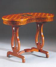 Столик-«бобик» наборного дерева. Россия. 1780-е. В наборе: орех, розовое дерево, клен мореный, карельская береза, гравировка.