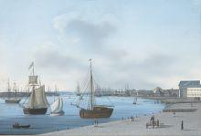 И. В. Г. Барт. Вид на Неву и Горный кадетский корпус в Петербурге. 1810-е. Бумага, гуашь, акварель.