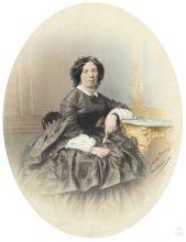 Неизвестный фотограф. Портрет М.В. Савостьяновой. 1850-е. Отпечаток на солёной бумаге, акварель, белила