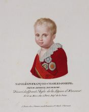 Ф.Велин с ориг. 1813. Портрет Наполеона II Бонапарта. Цветной пунктир, акварель. ГМП
