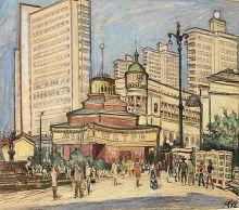 Е. Куманьков. Арбатская площадь. 1971. Бумга, цветные карандаши.