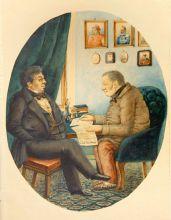 П.А. Каратыгин.  Ф.В. Булгарина и Н.И. Греча. 1849 г. Бумага, акварель. Из собрания ВМП.