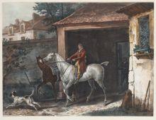 Ж.П.М.Жазе по оригиналу К.Верне Выезд из конюшни. Не ранее 1827 Акватинта, акварель.