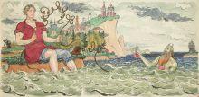 В.А. Милашевский (1893-1976). Балда и старый бес. Иллюстрация к «Сказке о попе и работнике его Балде». 1962. Бумага, акварель, тушь, перо.