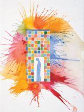 Миммо Паладино. Рай, Песнь III, Пиккарда Донати. Коллаж, чернила, бумага, 40х30 см