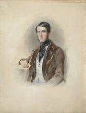Леопольд Фишер. Портрет барона М.Ф. фон Хаммер-Пургшталя. 1847. Бристольский картон, акварель, белила, карандаш.