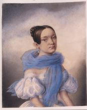 Неизвестный художник. Н.Н. Сафонова. Начало 1840-х. Тонированная бумага, акварель, пастель, белила