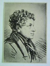 А.О. Орловский. А.С. Пушкин. 1820-е. Бумага, итальянский карандаш, уголь. Копия